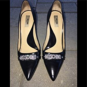Moschino Embellished logo Heels Black shoes